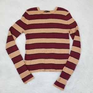 OSFM - Ethos Clothing striped knit ribbed sweater